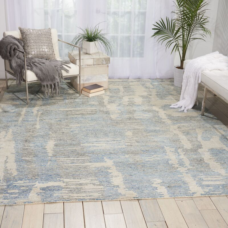 Aroon Hand-Knotted Blue Area Rug Rug Size: Rectangle 8'6