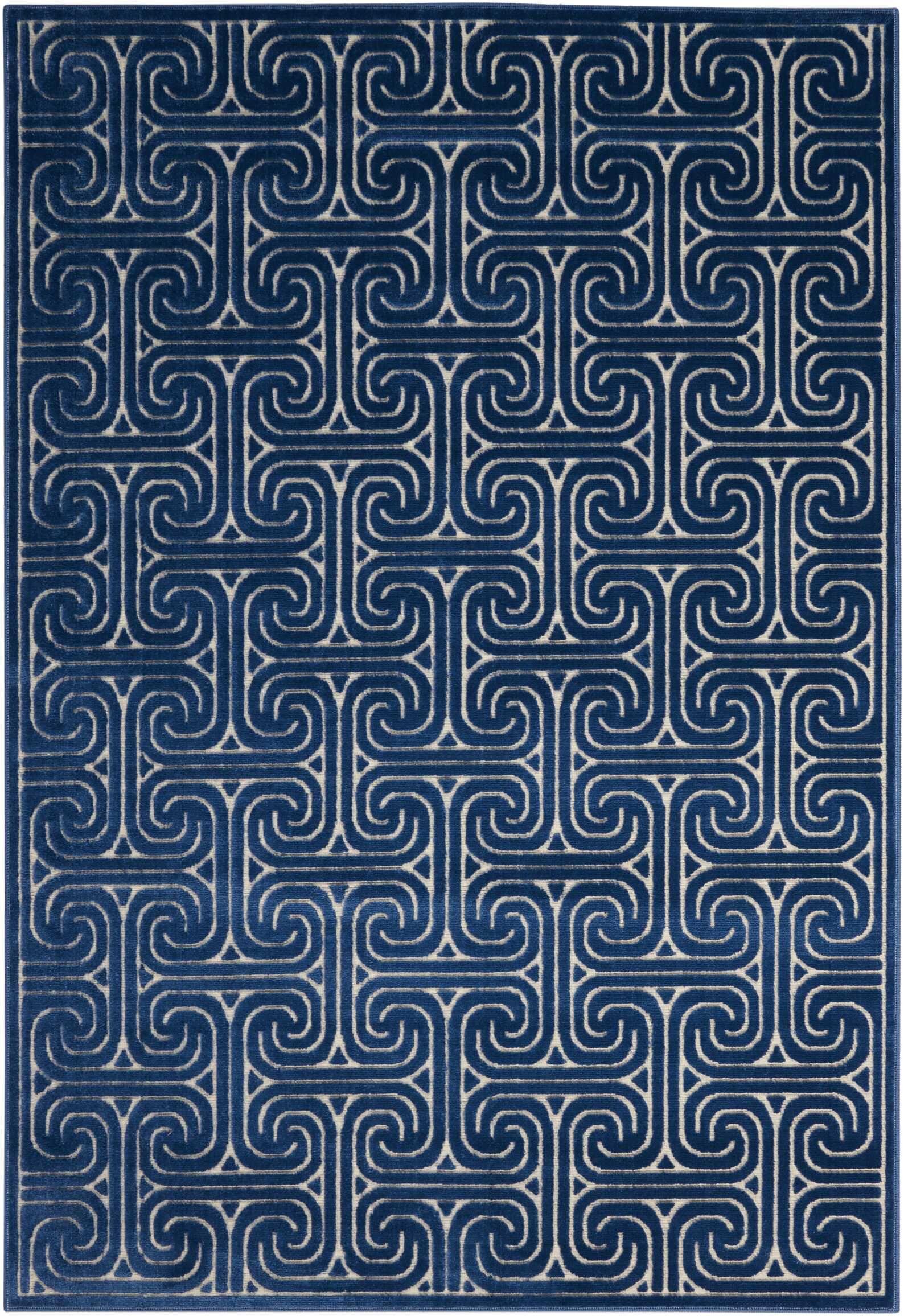 Interlock Ivory/Navy Indoor Area Rug Rug Size: Rectangle 3'6