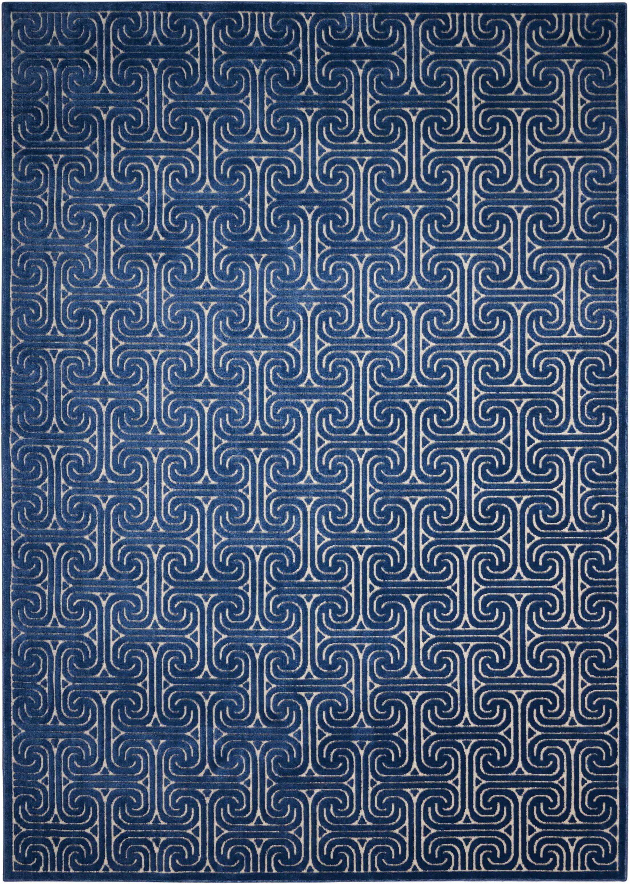 Interlock Ivory/Navy Indoor Area Rug Rug Size: Rectangle 7'9