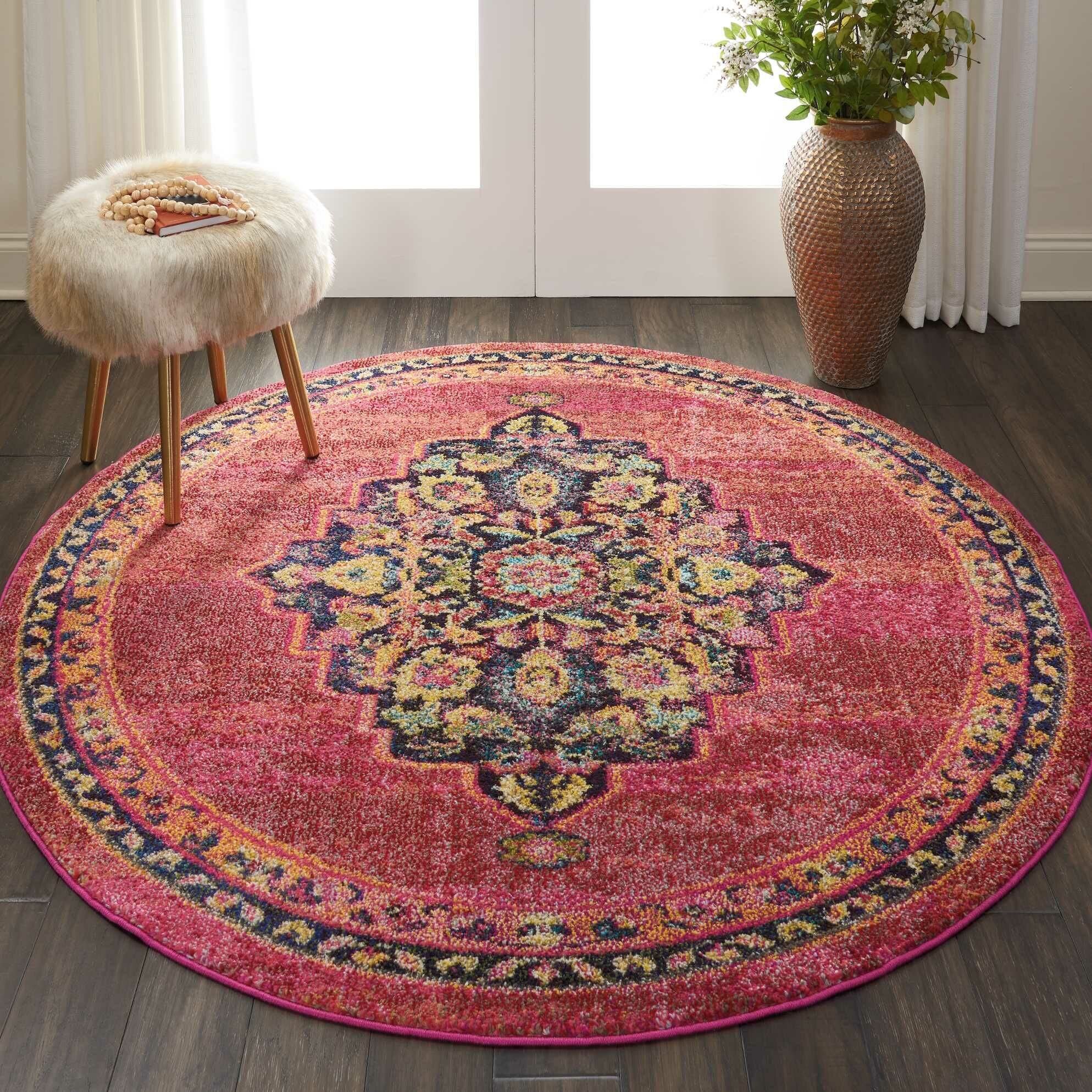 Lundy Traditional Medallion Red/Yellow Area Rug Rug Size: Round 5'3
