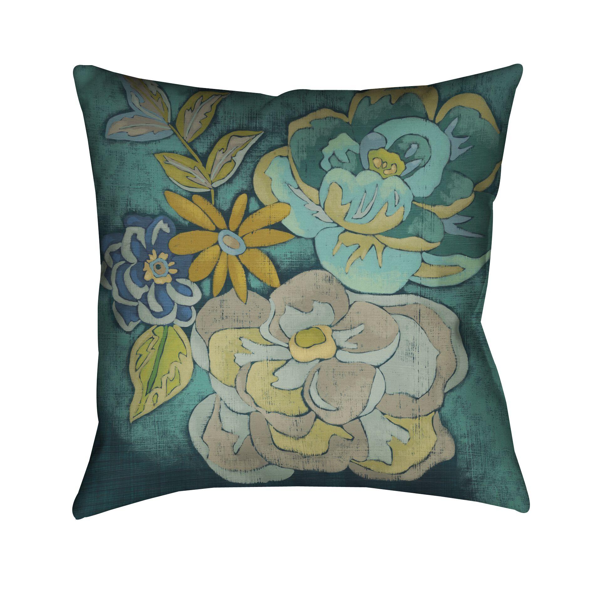 Teal Bouquet Throw Pillow