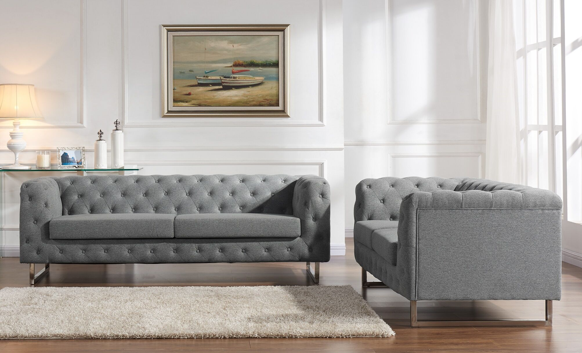 Scroll 2 Piece Living Room Set Upholstery Color: Gray