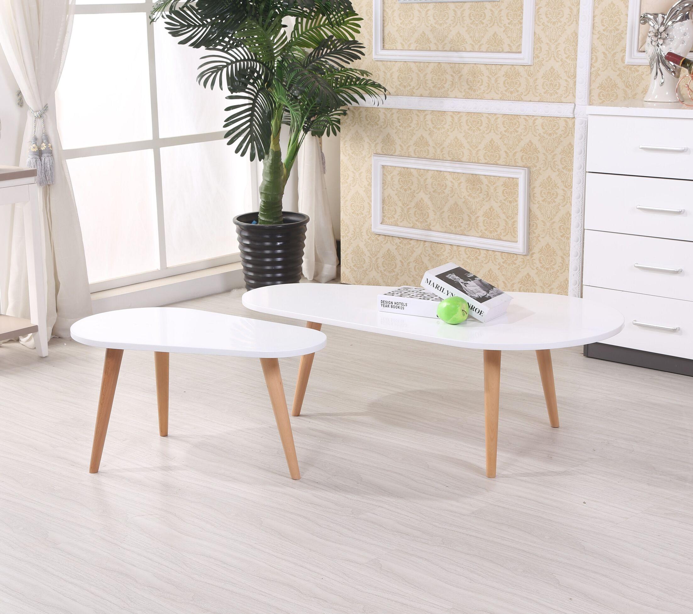 Sara 2 Piece Coffee Table Set Color: White