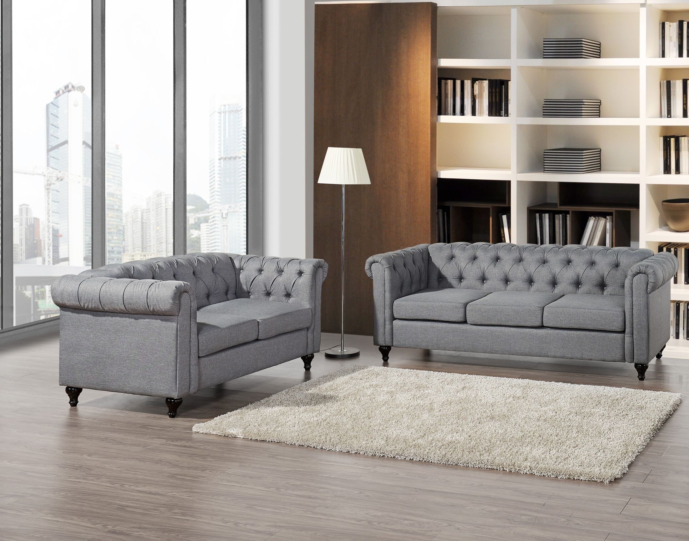 Chesterfield 2 Piece Living Room Set Upholstery: Gray