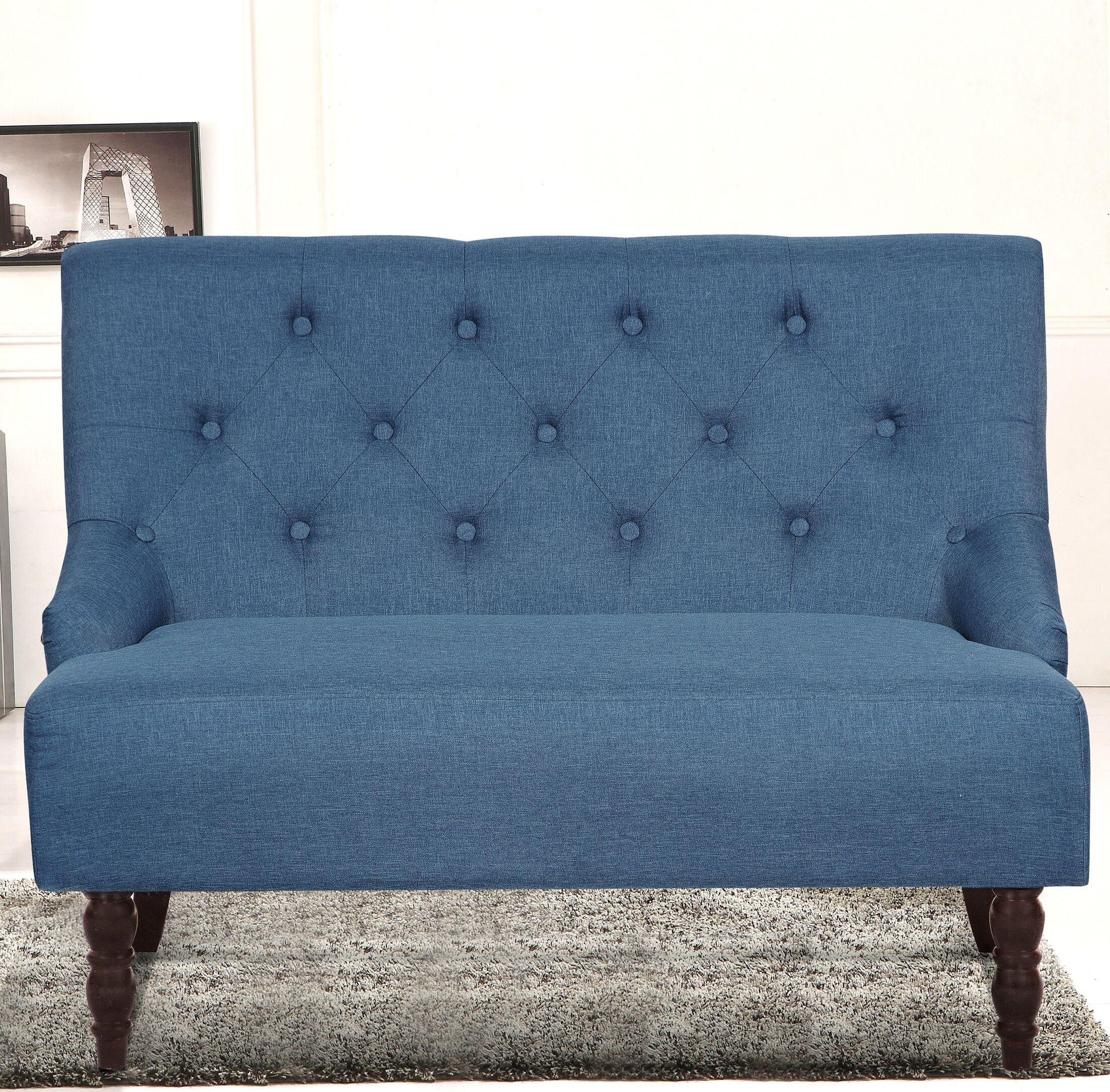 Tufted Linen Upholstered Loveseat Upholstery: Ocean Blue