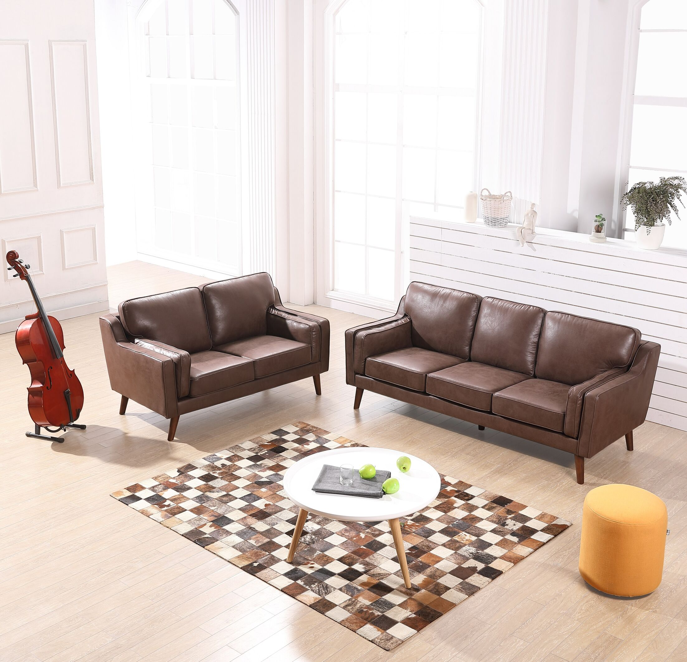 Westbury Modern Luxurious 2 Piece Leather Living Room Set Upholstery: Brown/Tan