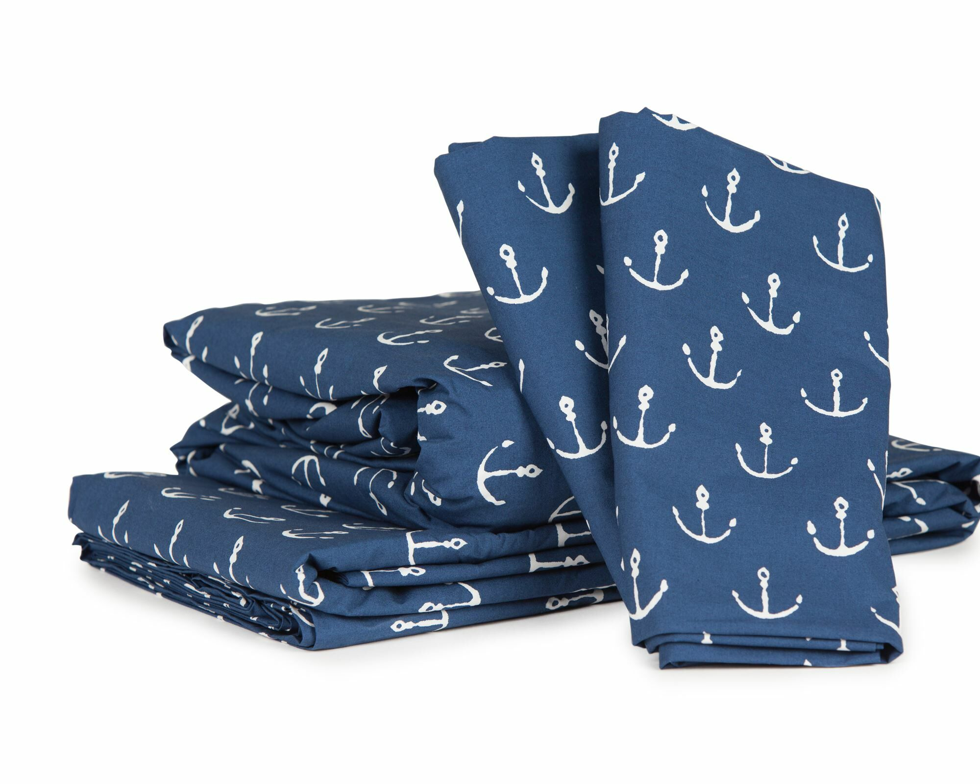 Anchors by David Hart 300 Thread Count Cotton Percale Sheet Set Size: Full, Color: Navy