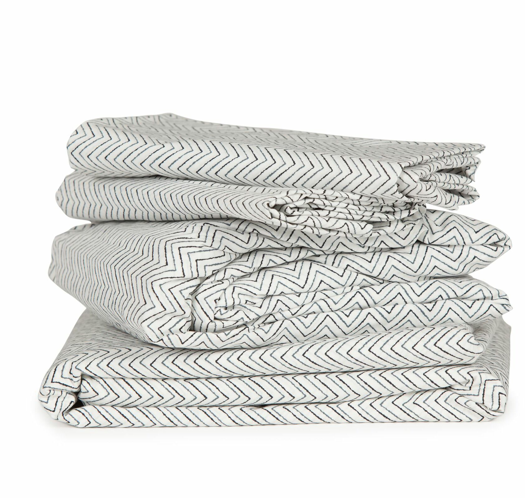 Chevron 300 Thread Count Cotton Sheet Set Color: Black, Size: Twin