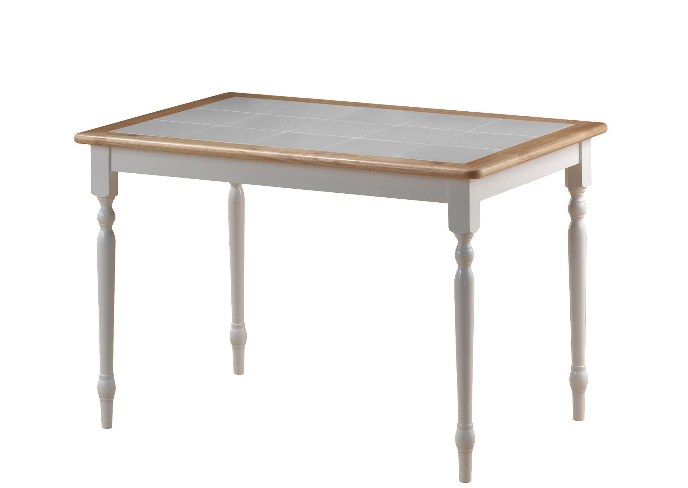 Bella Tile Top Dining Table Color: White / Natural
