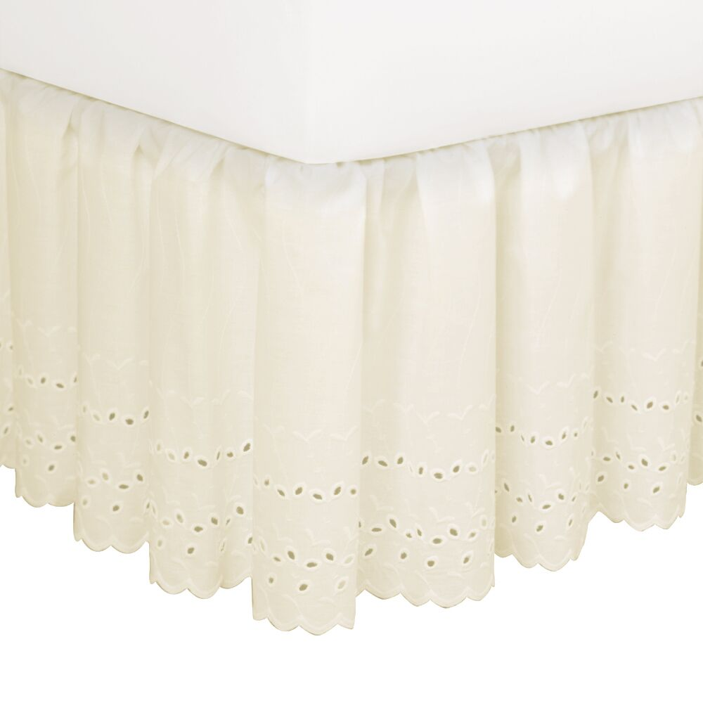 Nayara Eyelet Extra Long 145 Thread Count Bed Skirt Size: Queen, Color: Ivory