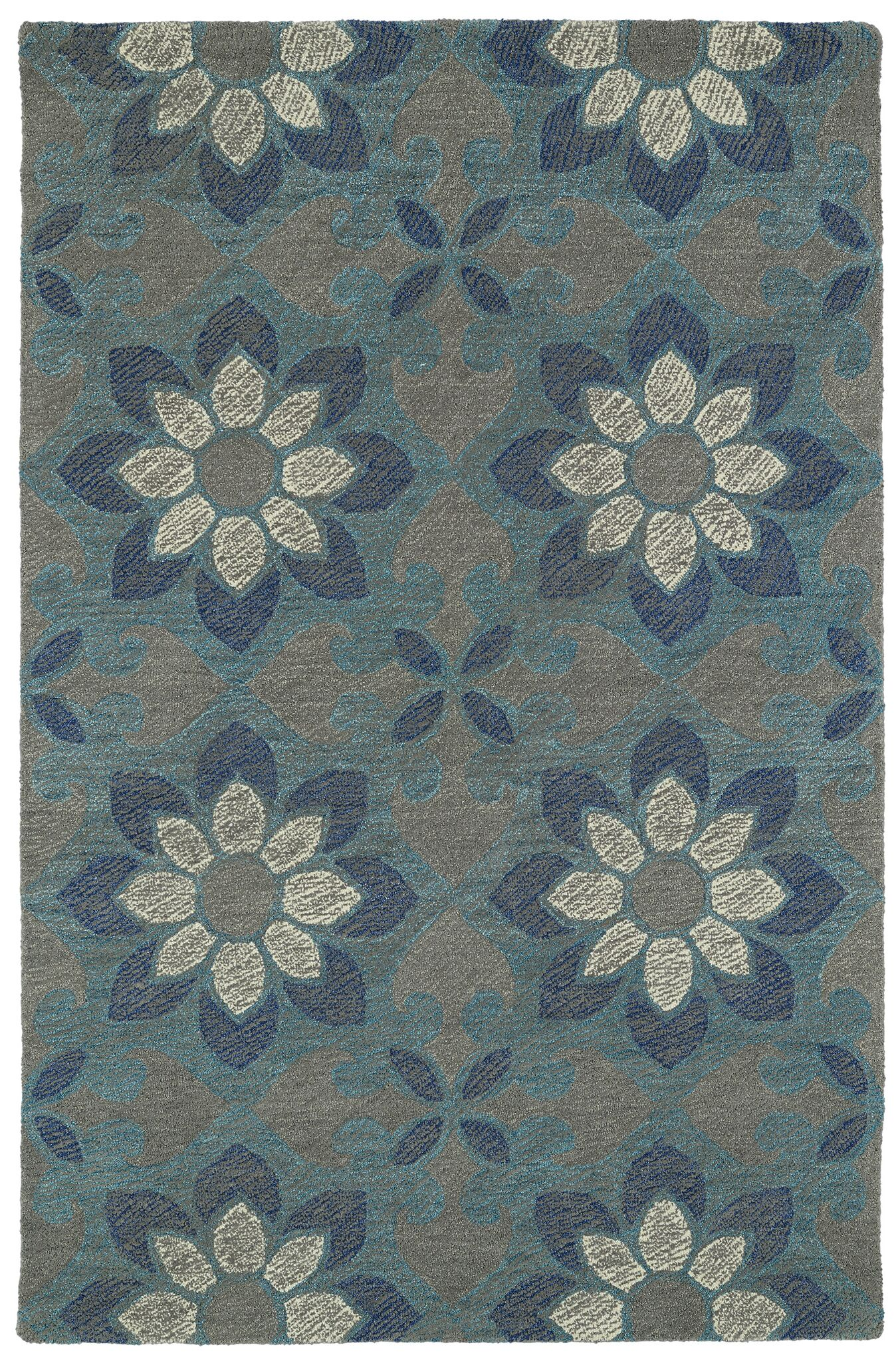 Hand-Tufted Blue Area Rug Rug Size: Rectangle 5' x 9'
