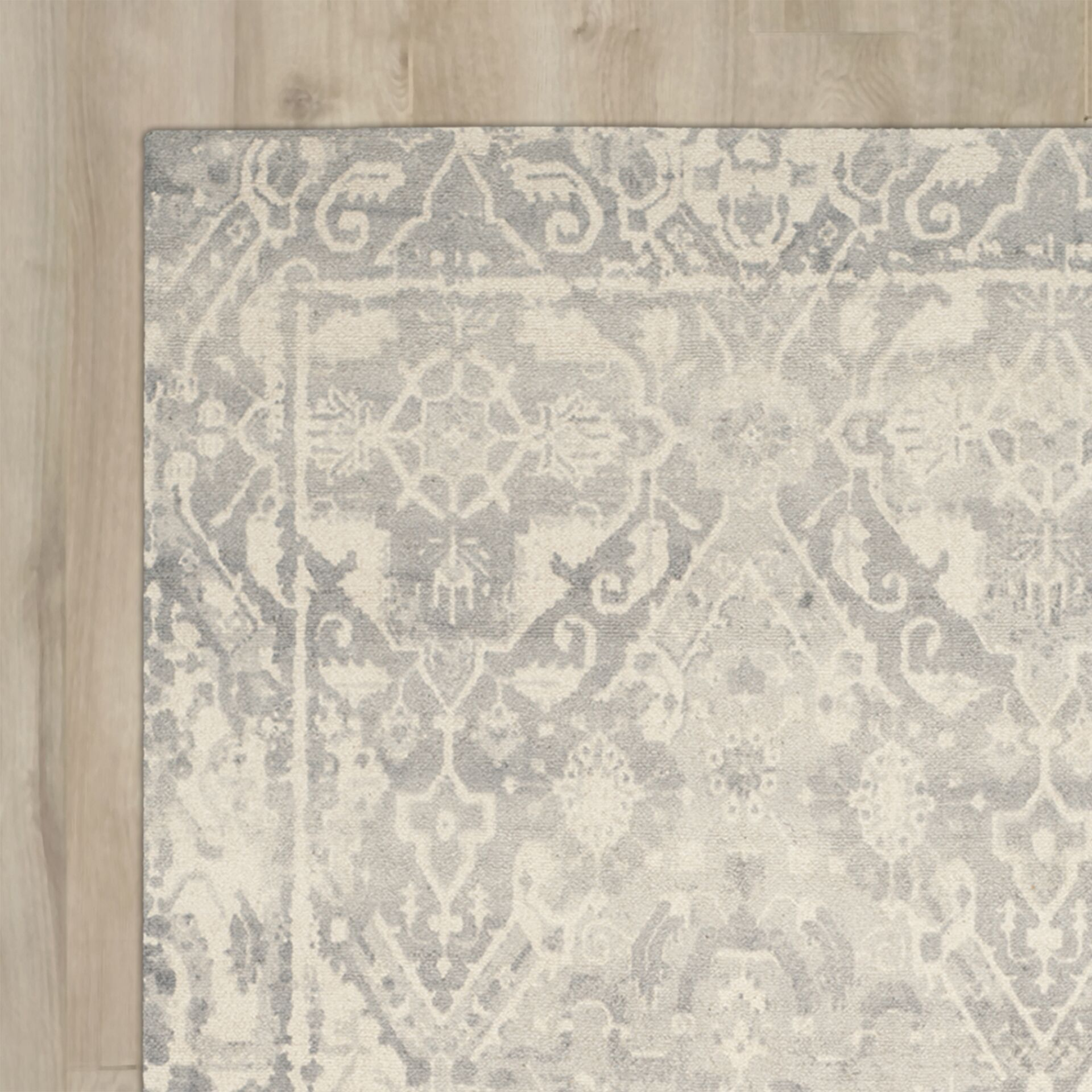 Katy Hand-Tufted Light Gray / Ivory Area Rug Rug Size: Rectangle 6' x 9'
