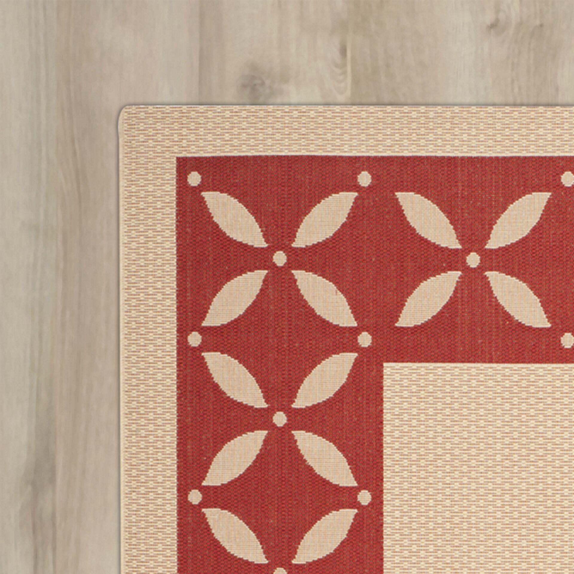 Martha Stewart Mallorca Border Creme/Red Area Rug Rug Size: Rectangle 5'3