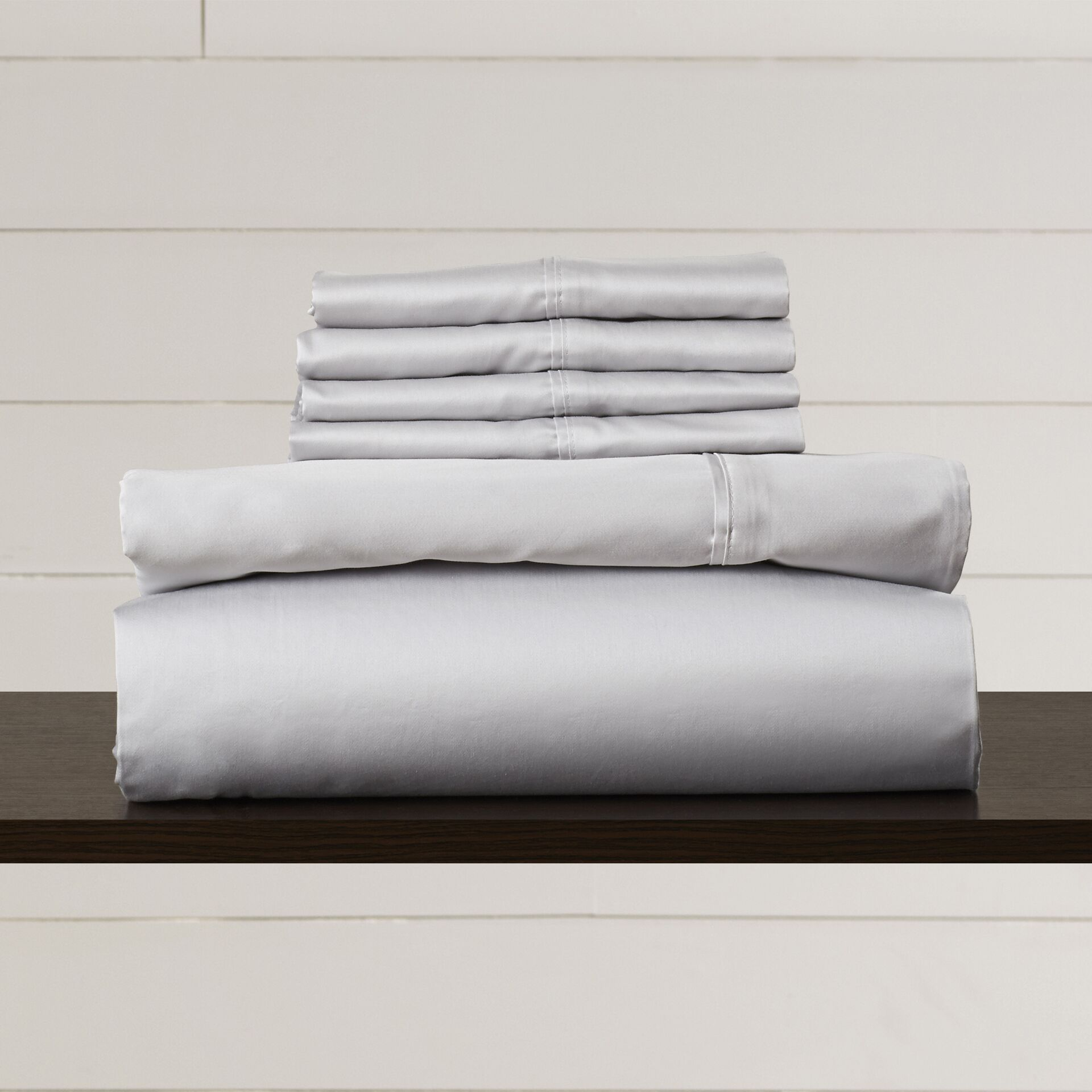 Hiram 600 Thread Count 6-Piece Egyptian Quality Cotton Sateen Deep Pocket Sheet Set Size: California King, Color: Steel