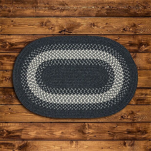 Serafin Hand-Woven Wool Charcoal Area Rug Rug Size: Oval 2' x 10'