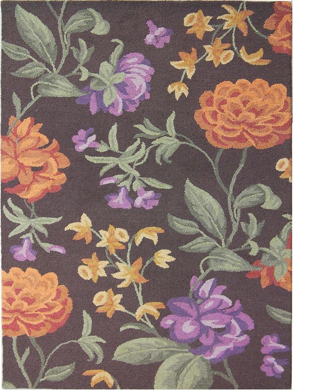 Ginger Brown Floral Area Rug Rug Size: Rectangle 8' x 10'