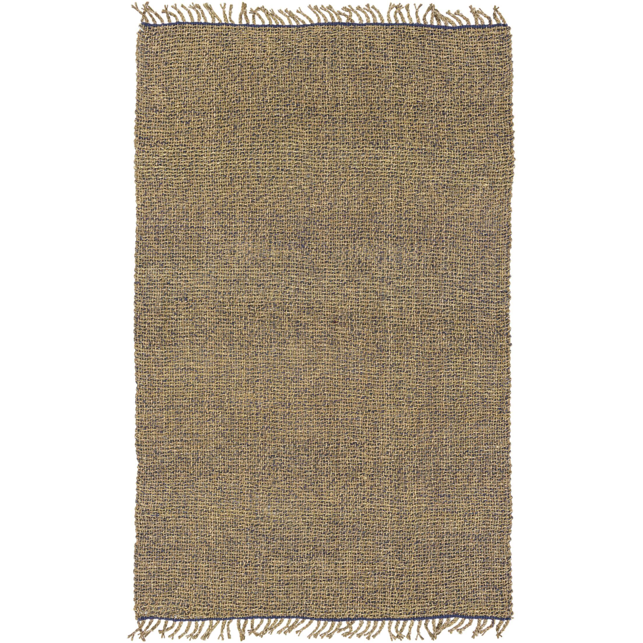 Adelia Hand-Woven Navy/Khaki Area Rug Rug Size: Rectangle 8' x 10'