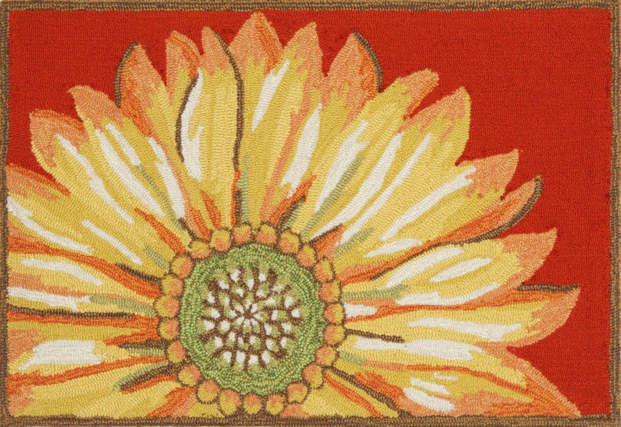 Ismay Sunflower Red Indoor/Outdoor Area Rug Rug Size: 2'6
