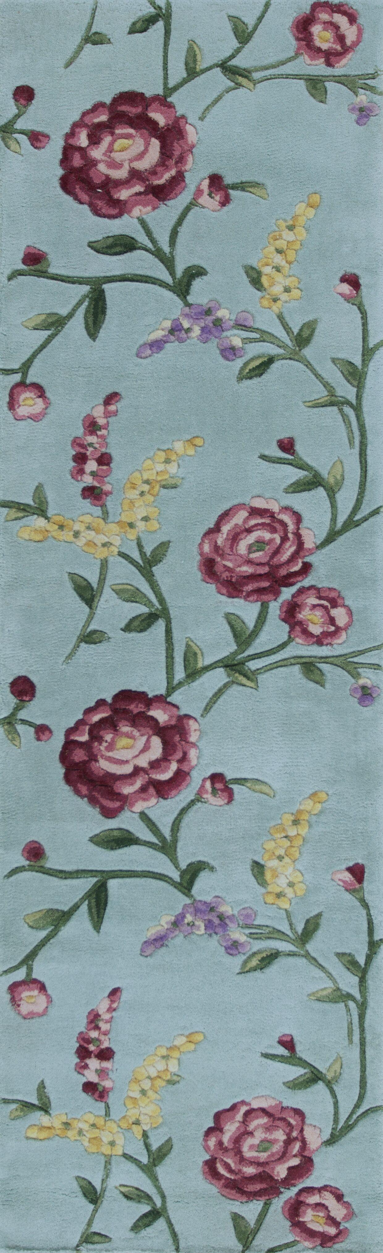 Yvonne Blue Floral Vines Area Rug Rug Size: 5'3