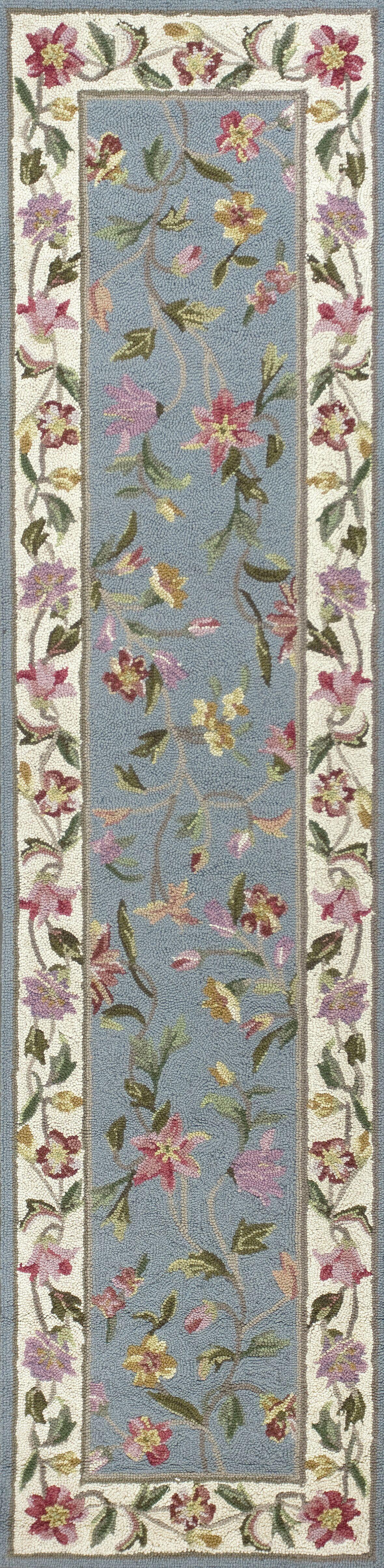 Labrosse Slate Blue / Ivory Floral Area Rug Rug Size: Runner 2' x 8'