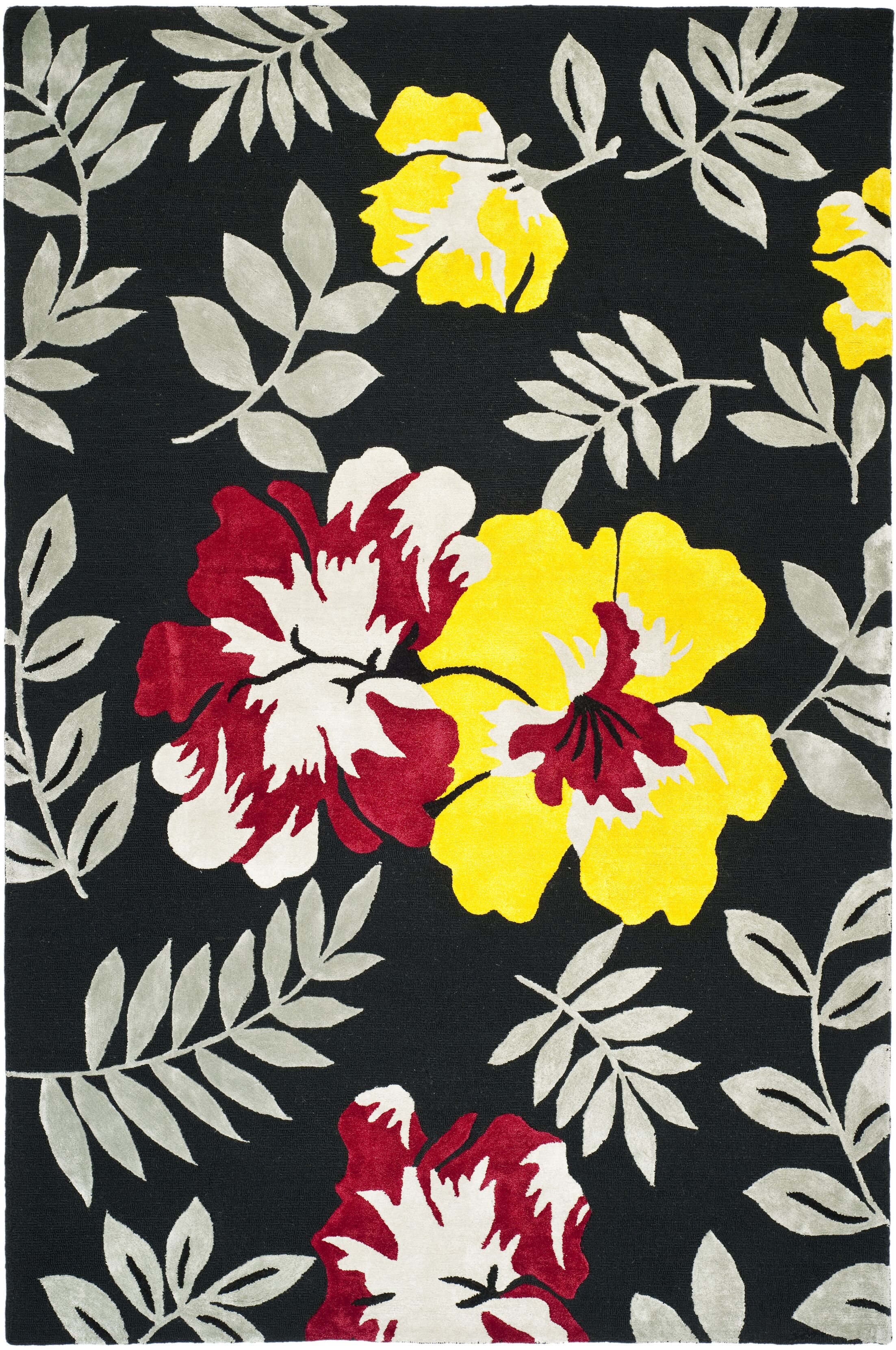 Pipers Black/ Yellow Area Rug Rug Size: Rectangle 5'6