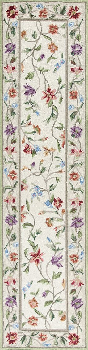 Labrosse Ivory / White Floral Area Rug Rug Size: Runner 2' x 8'