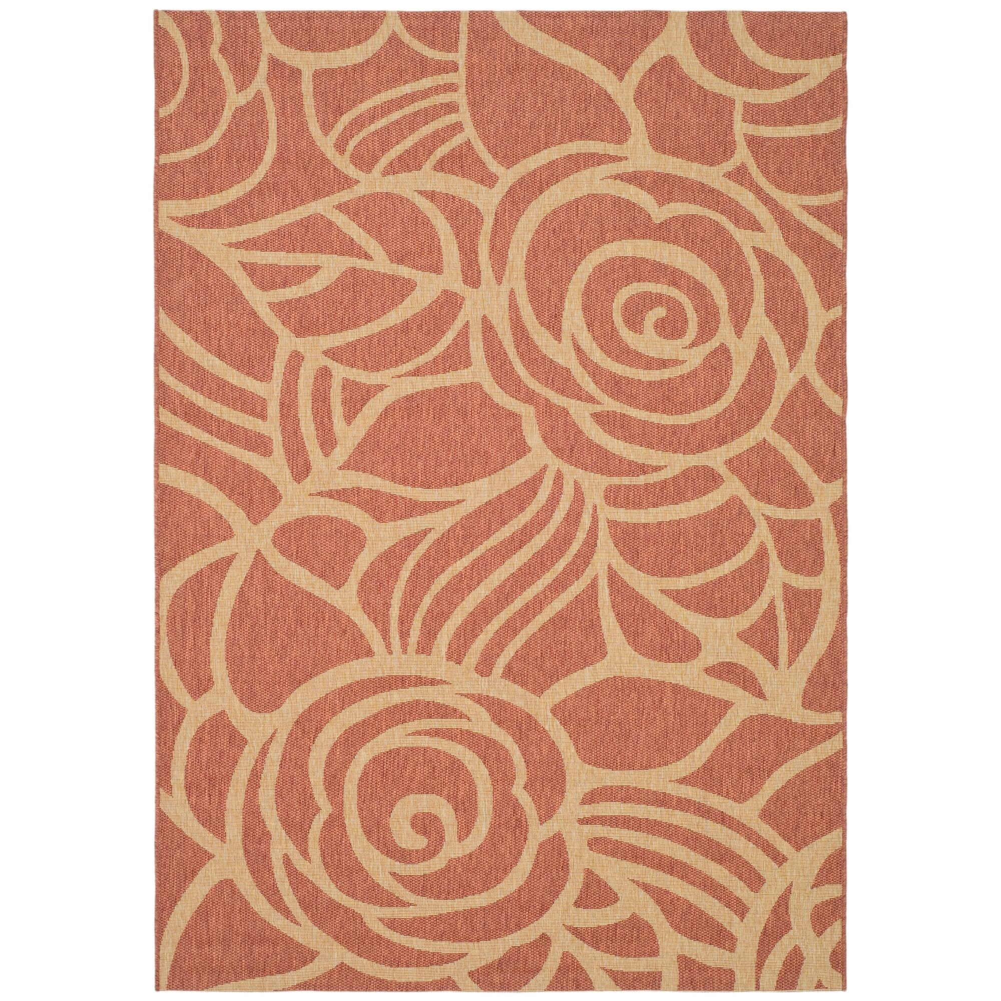 Laurel Rust/Sand Floral Outdoor Rug Rug Size: Rectangle 6'7