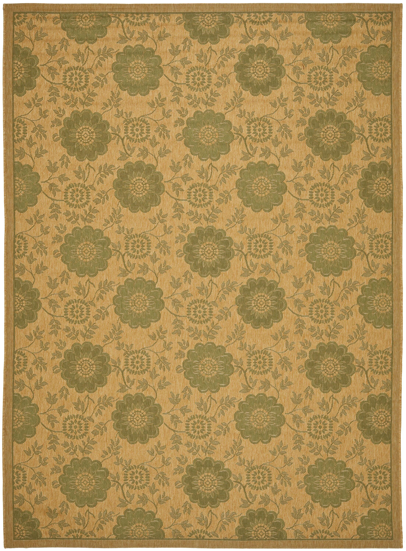 Laurel Natural/Green Outdoor Rug Rug Size: Rectangle 5'3
