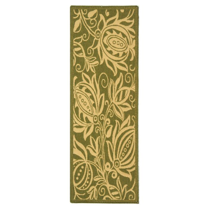Laurel Olive / Natural Outdoor Area Rug Rug Size: Runner 2'3