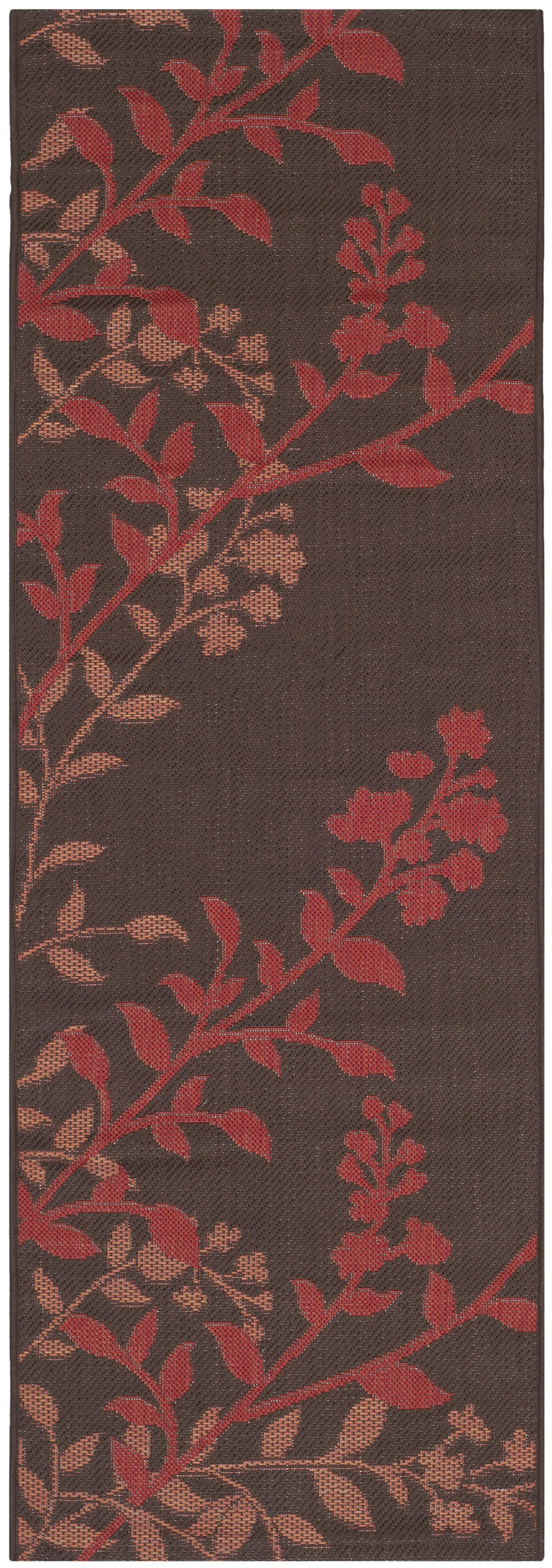Laurel Chocolate / Red Indoor/Outdoor Rug Rug Size: Rectangle 4' x 5'7