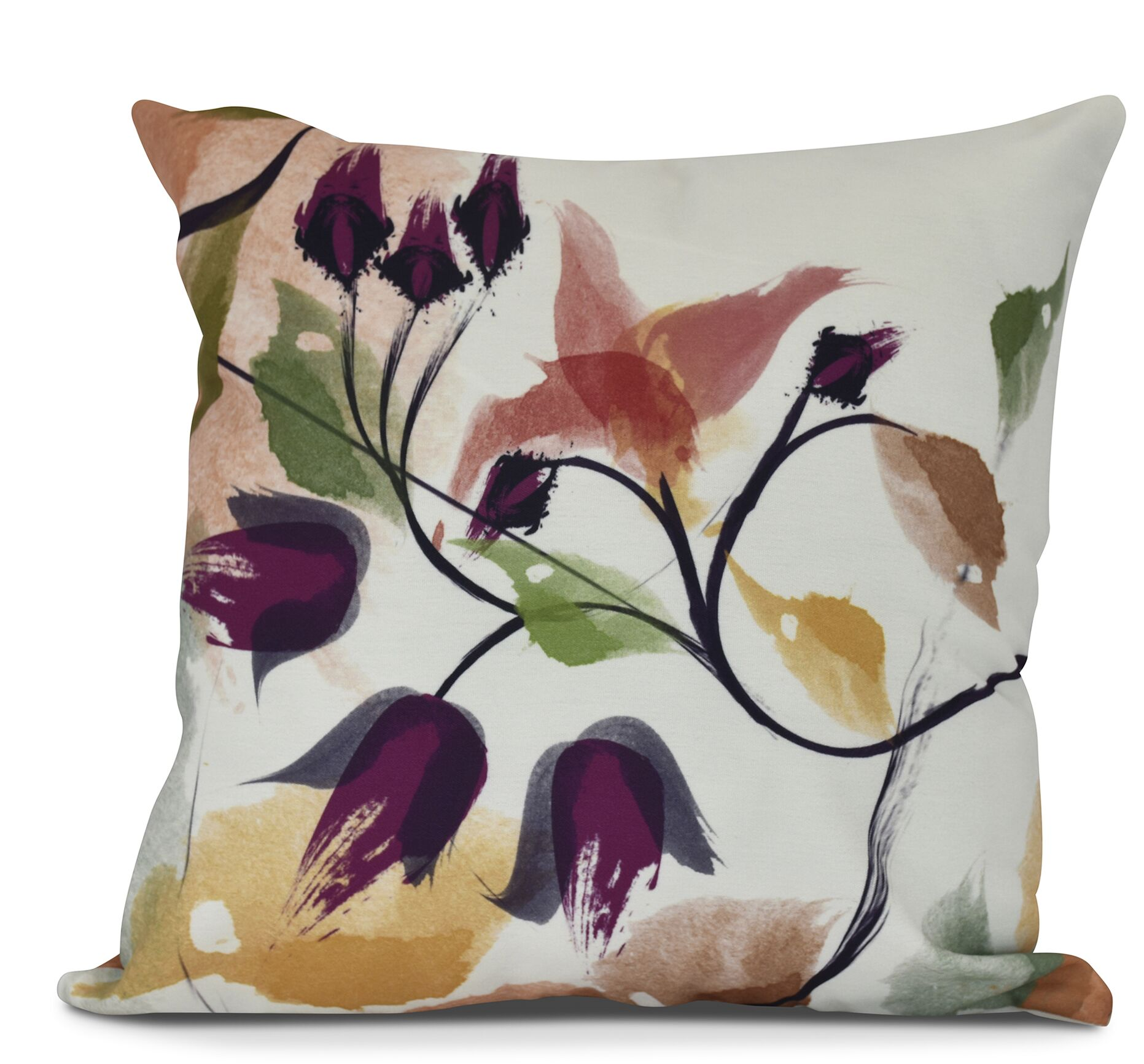 Roscoe Windy Bloom Floral Outdoor Throw Pillow Size: 20