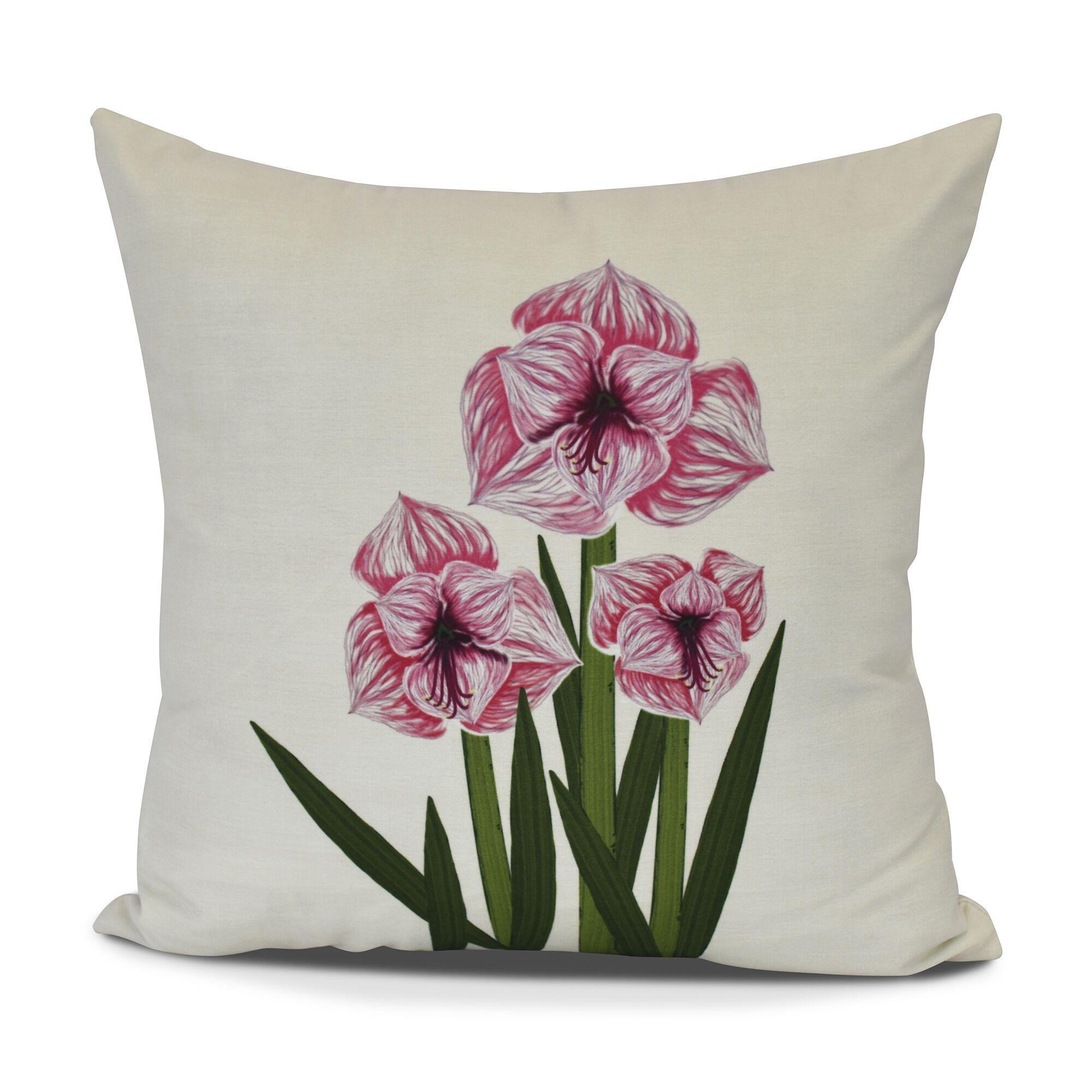 Amanda Amaryllis Floral Print Throw Pillow Size: 16