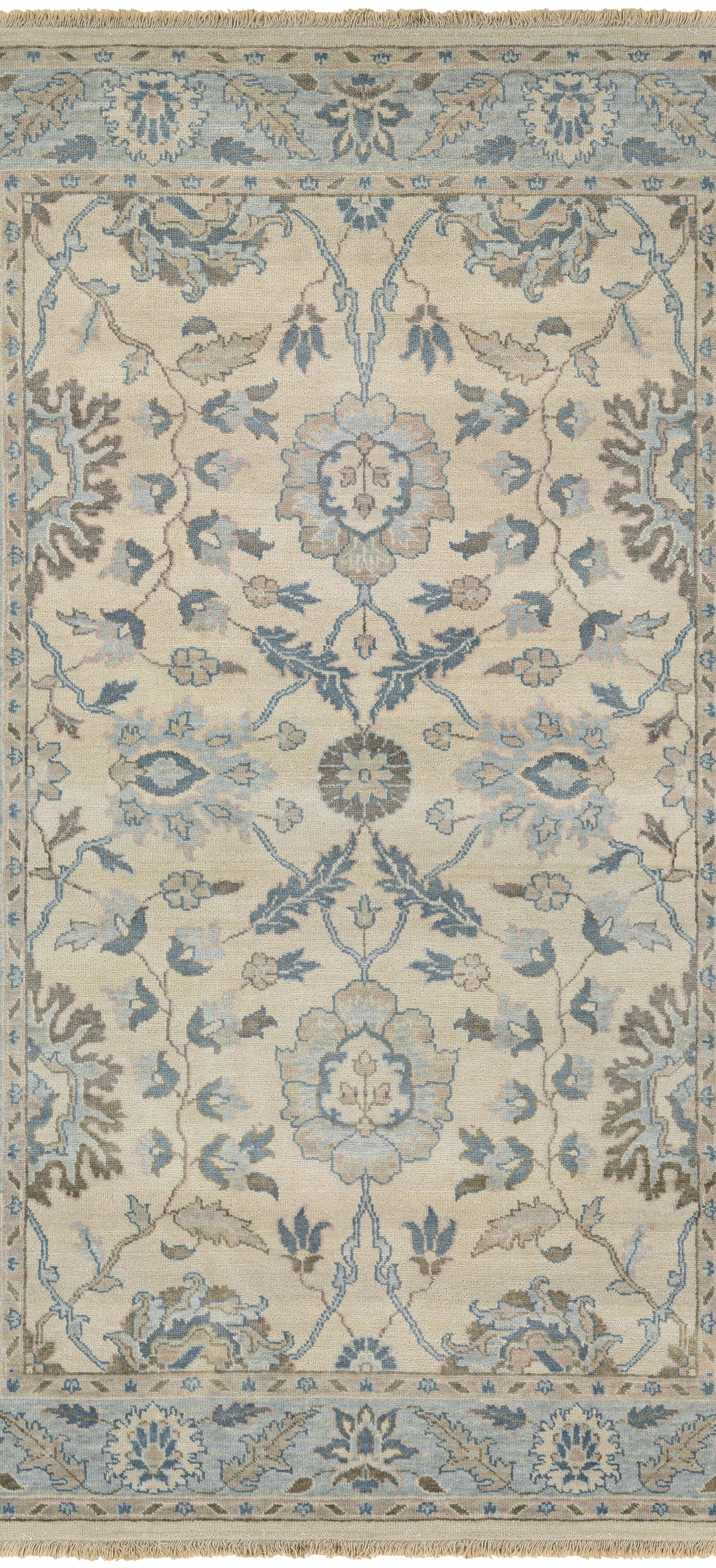 Arras Hand-Knotted Beige/Blue Area Rug Rug Size: Rectangle 5'6
