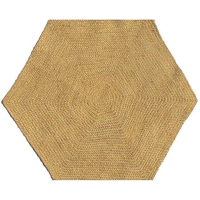 Ephemerine Natural Hand-Woven Gold Area Rug Rug Size: Hexagon 8'