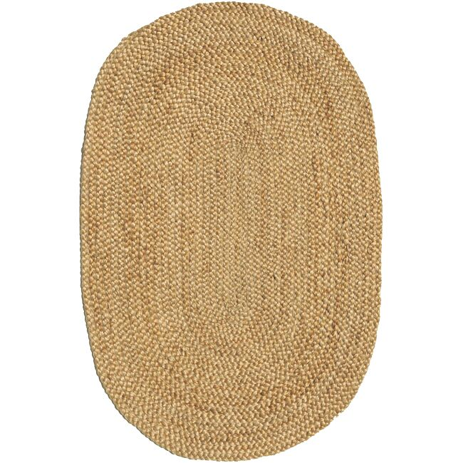 Ephemerine Natural Hand-Woven Gold Area Rug Rug Size: Oval 4'6