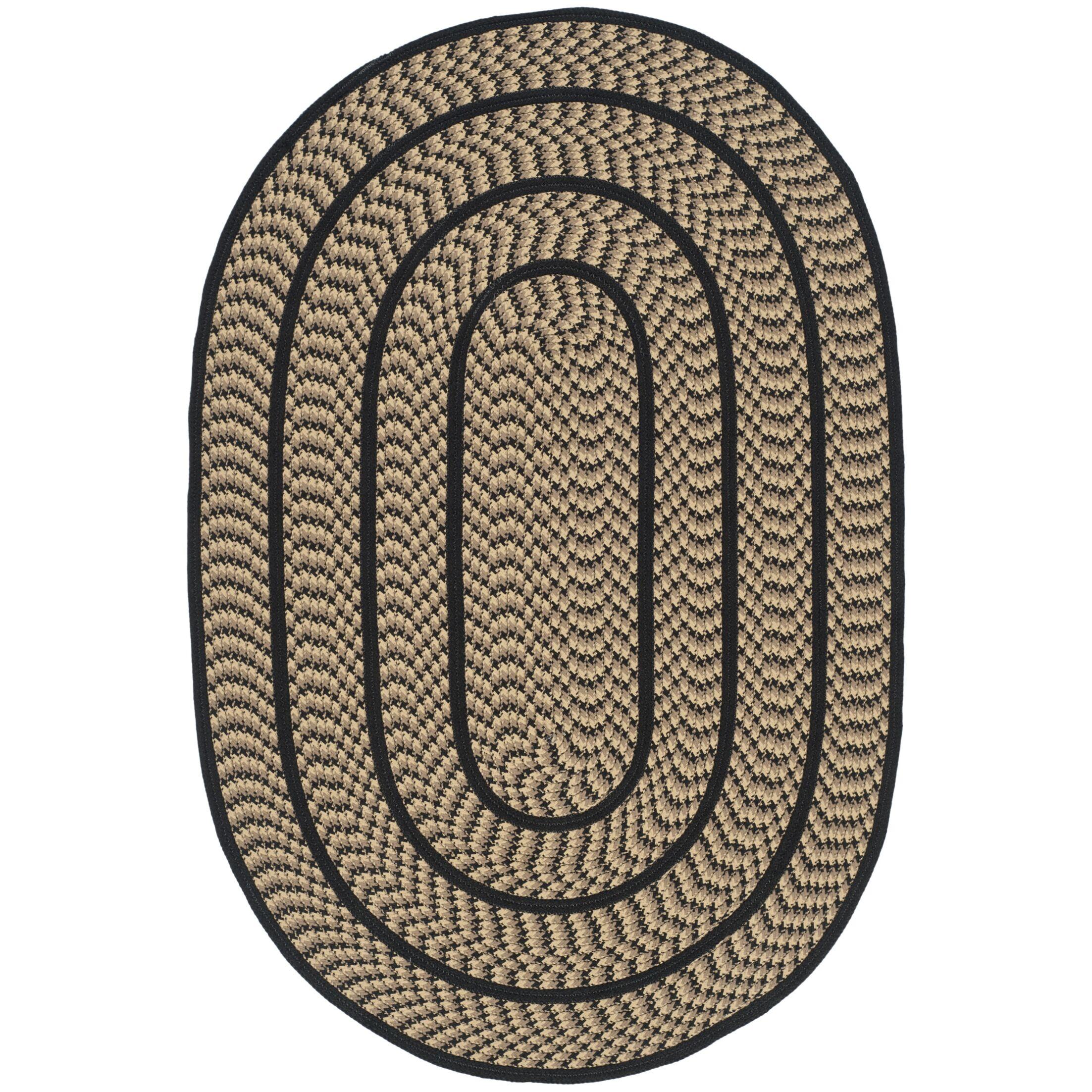 Georgina Contemporary Beige/Black Area Rug Rug Size: Oval 3' x 5'