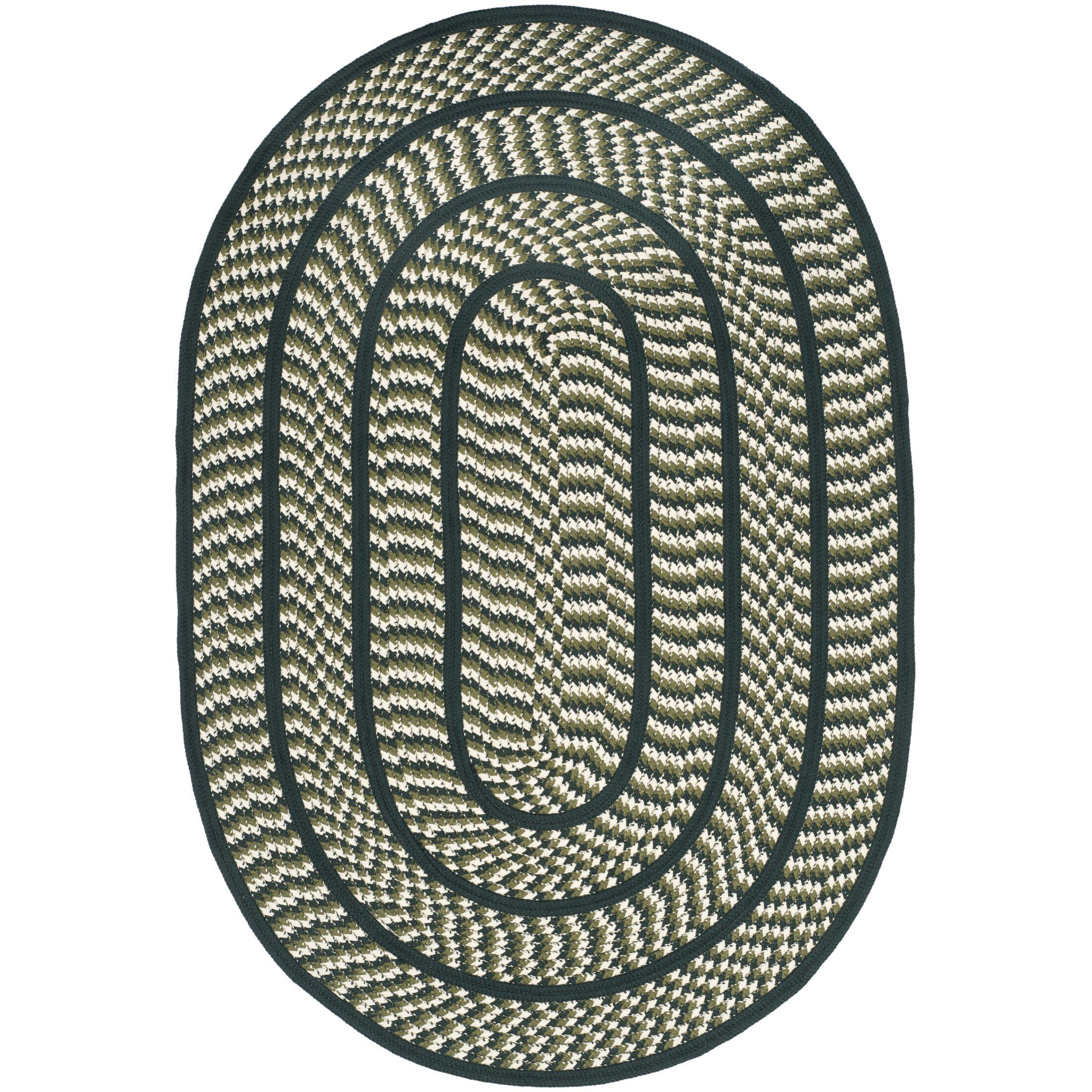 Georgina Ivory/Dark Green Contemporary Area Rug Rug Size: Oval 4' x 6'