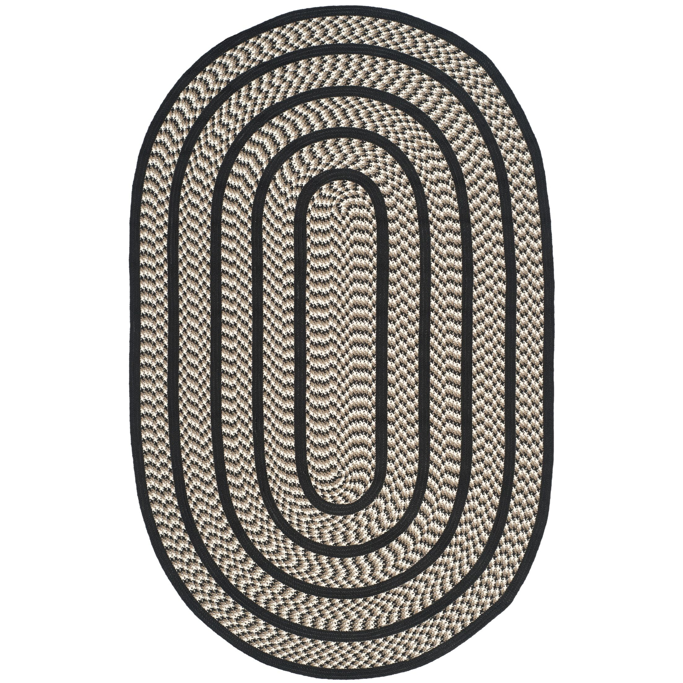 Georgina Ivory/Black Contemporary Area Rug Rug Size: Oval 5' x 8'