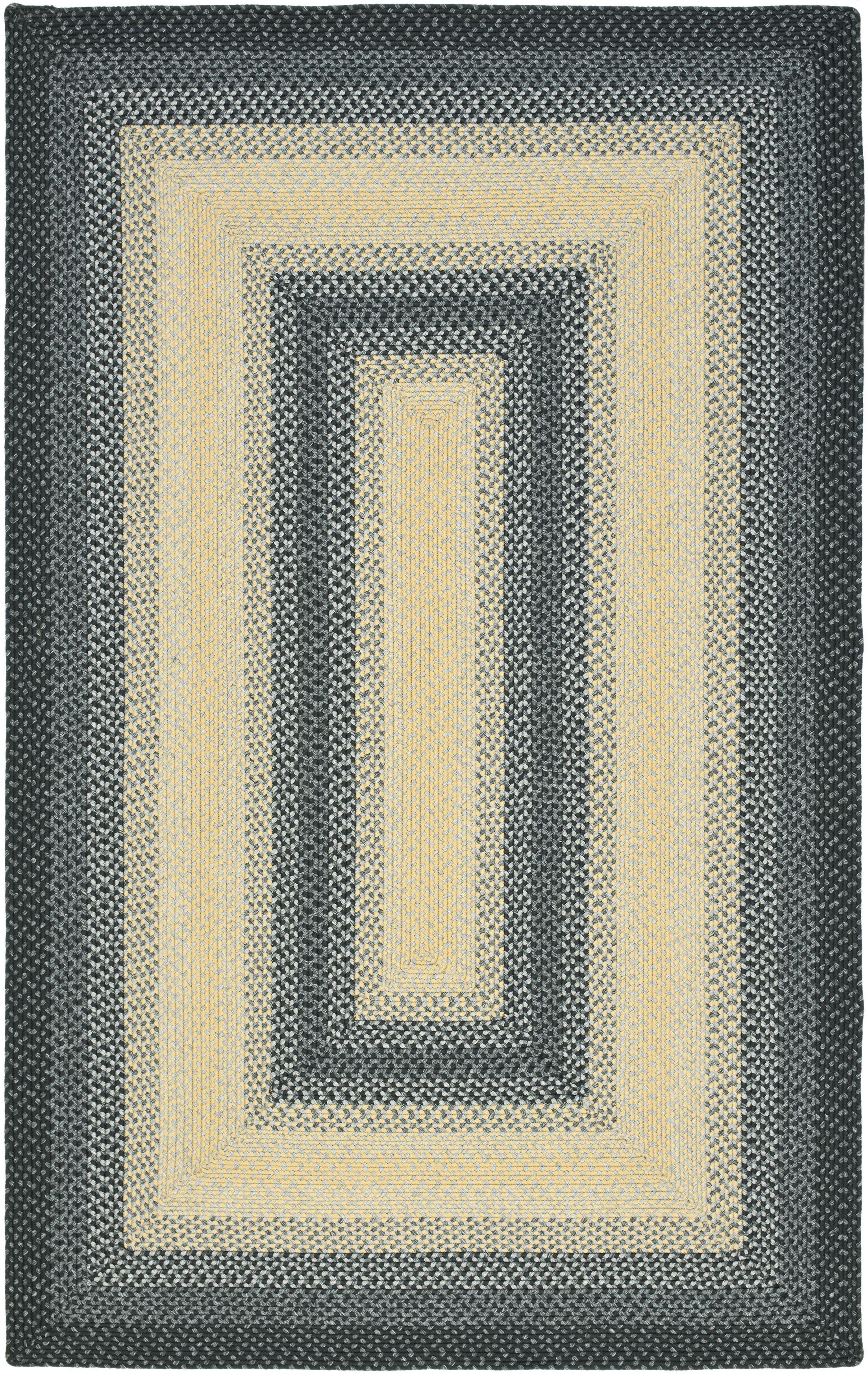 Georgina Hand-Woven Black/Grey Area Rug Rug Size: Rectangle 8' x 10'