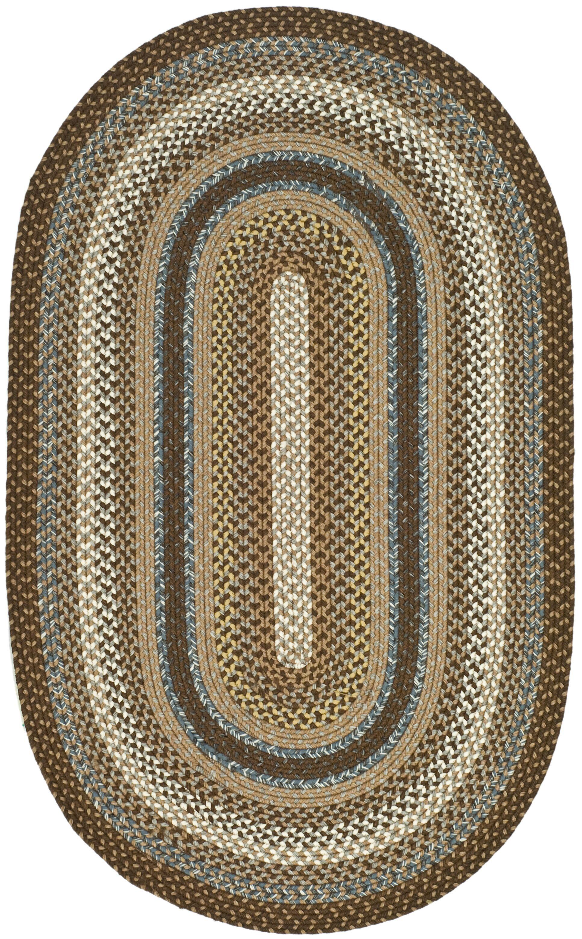 Liptak Hand-Braided Brown Area Rug Rug Size: Oval 4' x 6'