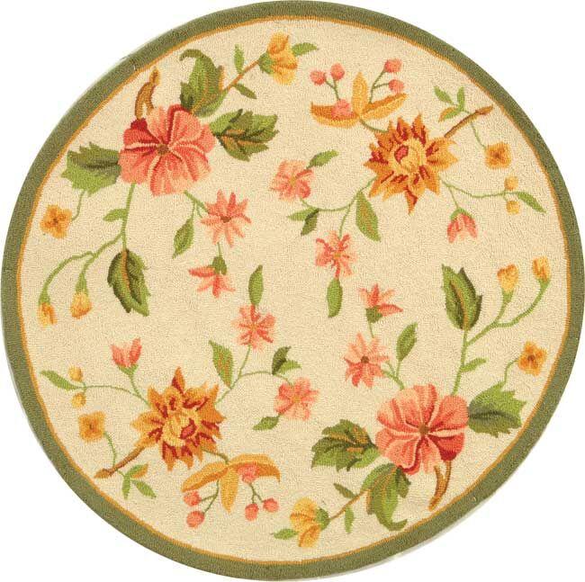Kinchen Beige Floral Rug Rug Size: Round 4'