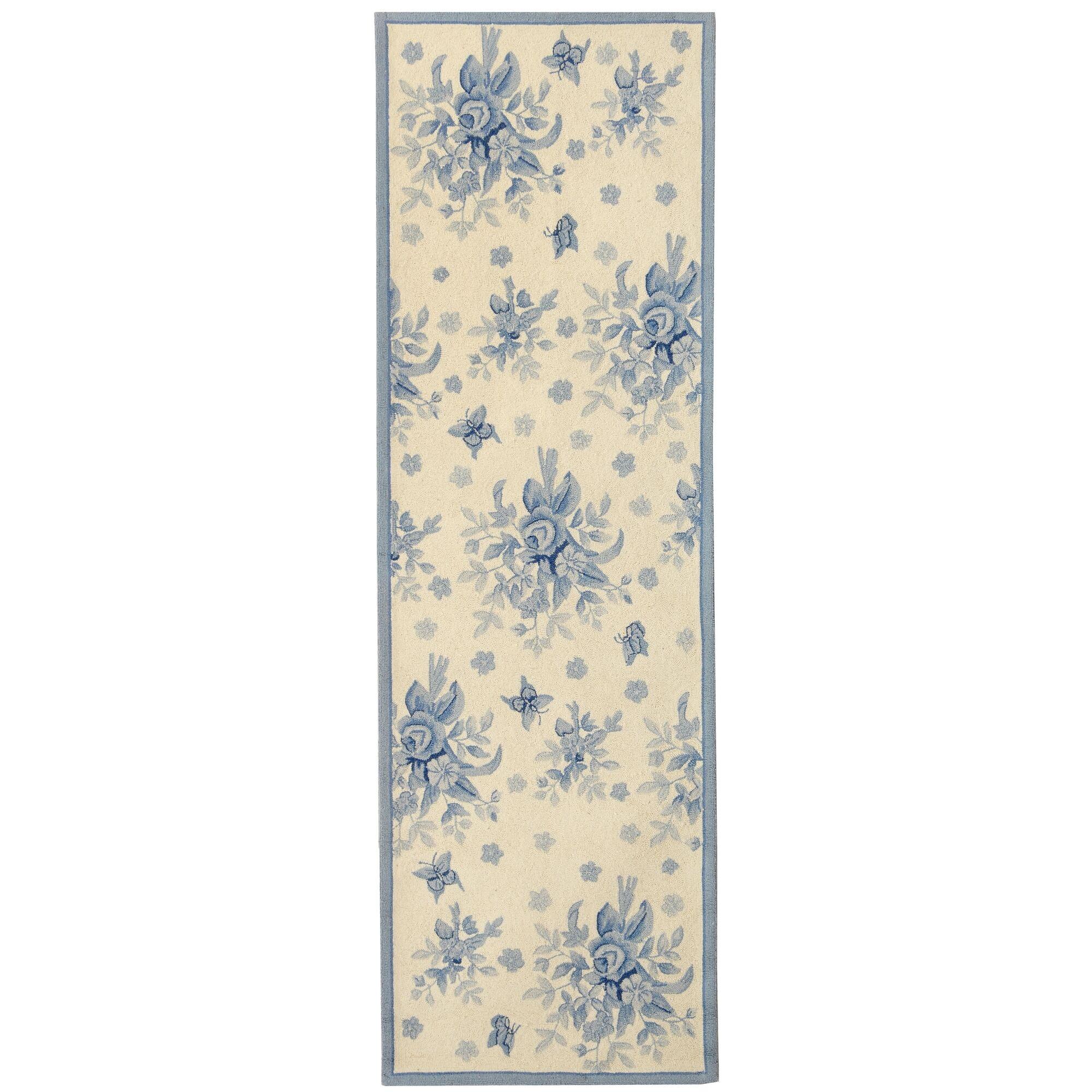 Kinchen Ivory/Blue Rug Rug Size: Runner 2'6