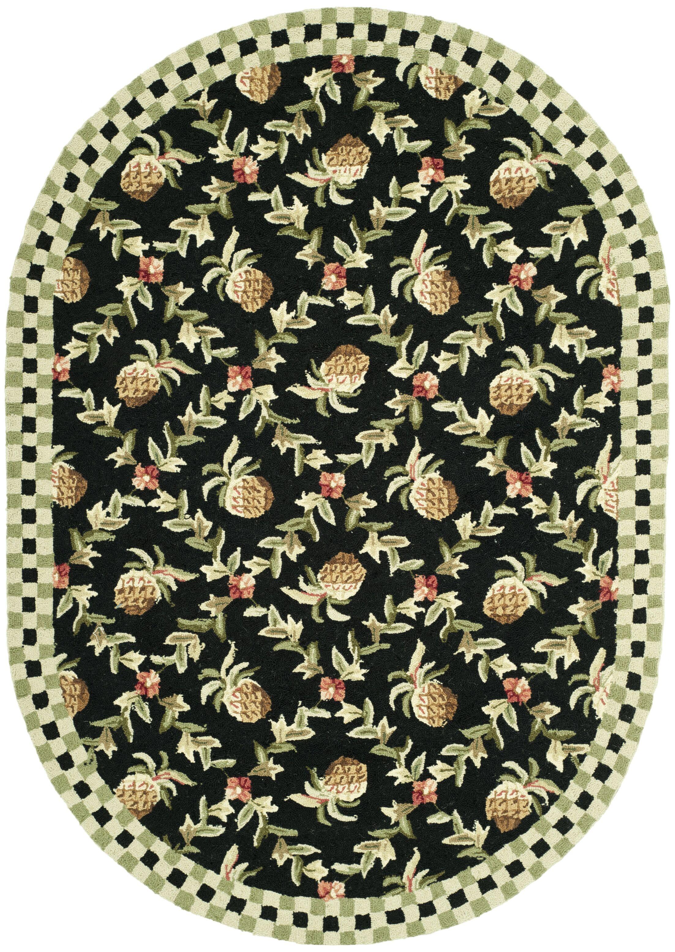 Kinchen Black/Ivory Rug Rug Size: Oval 4'6