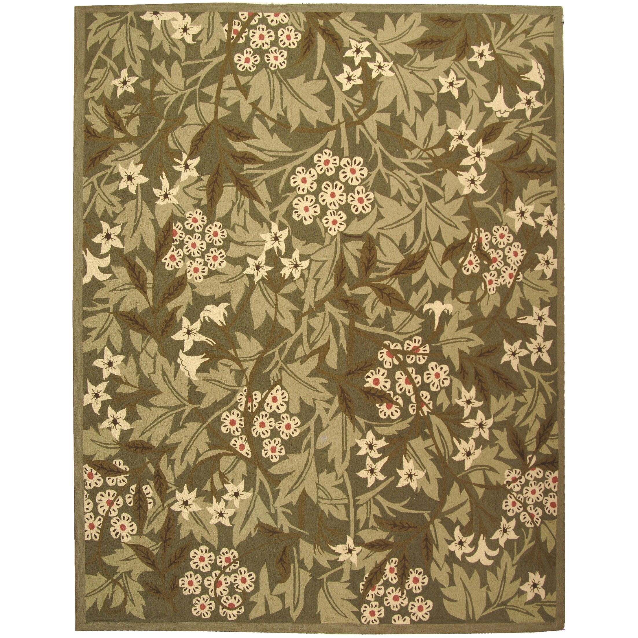 Kinchen Green/Ivory Area Rug Rug Size: Rectangle 3'9