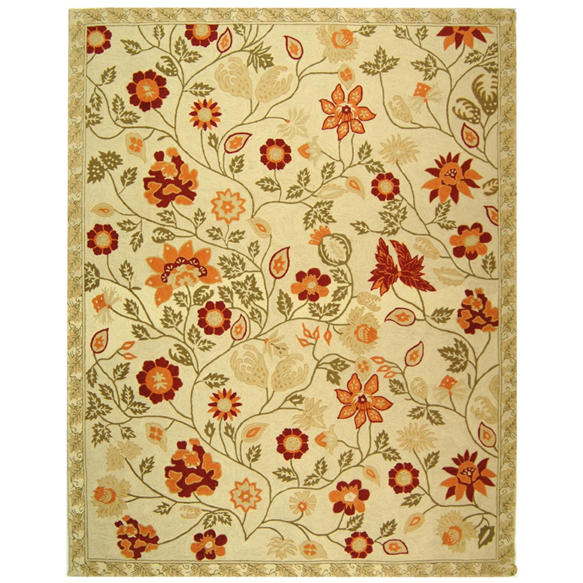 Kinchen Ivory/Green Area Rug Rug Size: Rectangle 7'9
