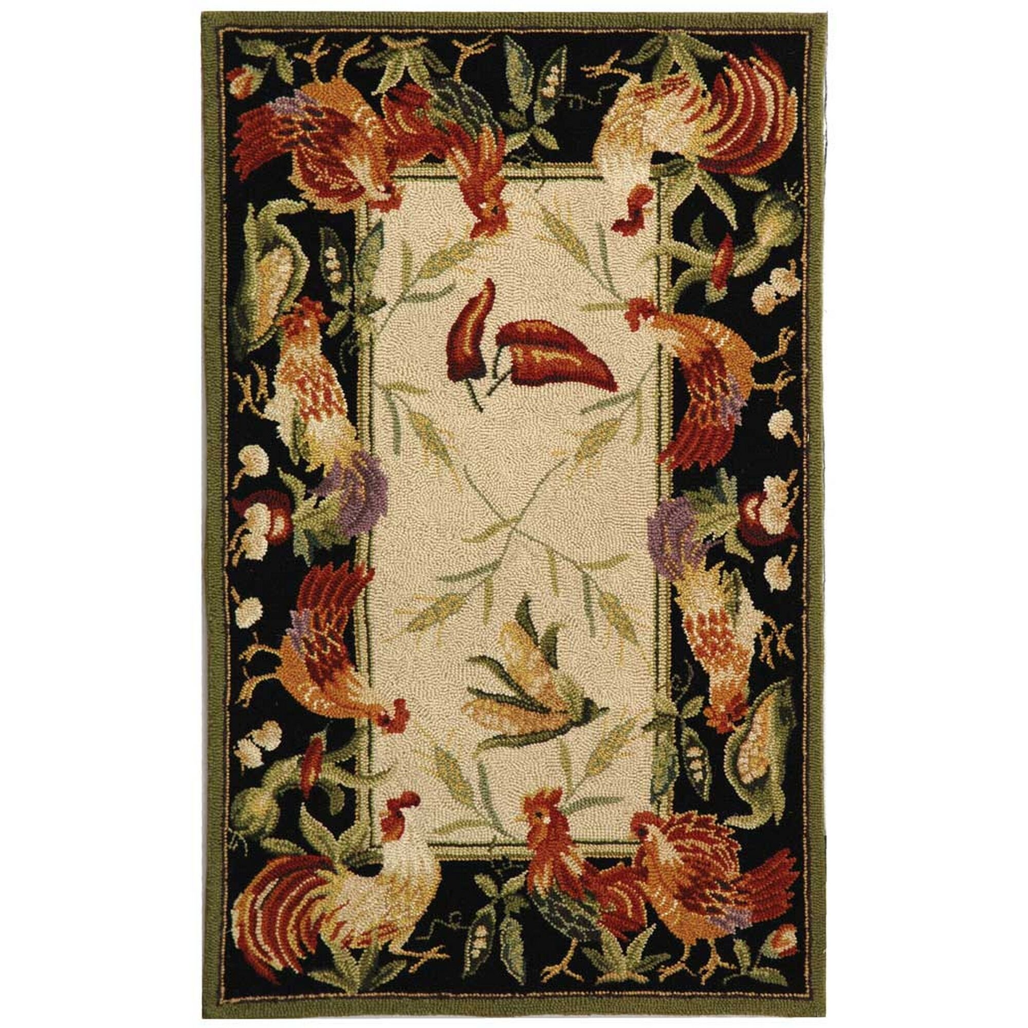 Kinchen Leaf and Chicken Novelty Area Rug Rug Size: Rectangle 2'6