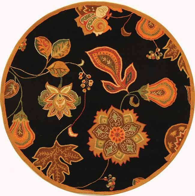 Kinchen Black/Orange Area Rug Rug Size: Round 5'6