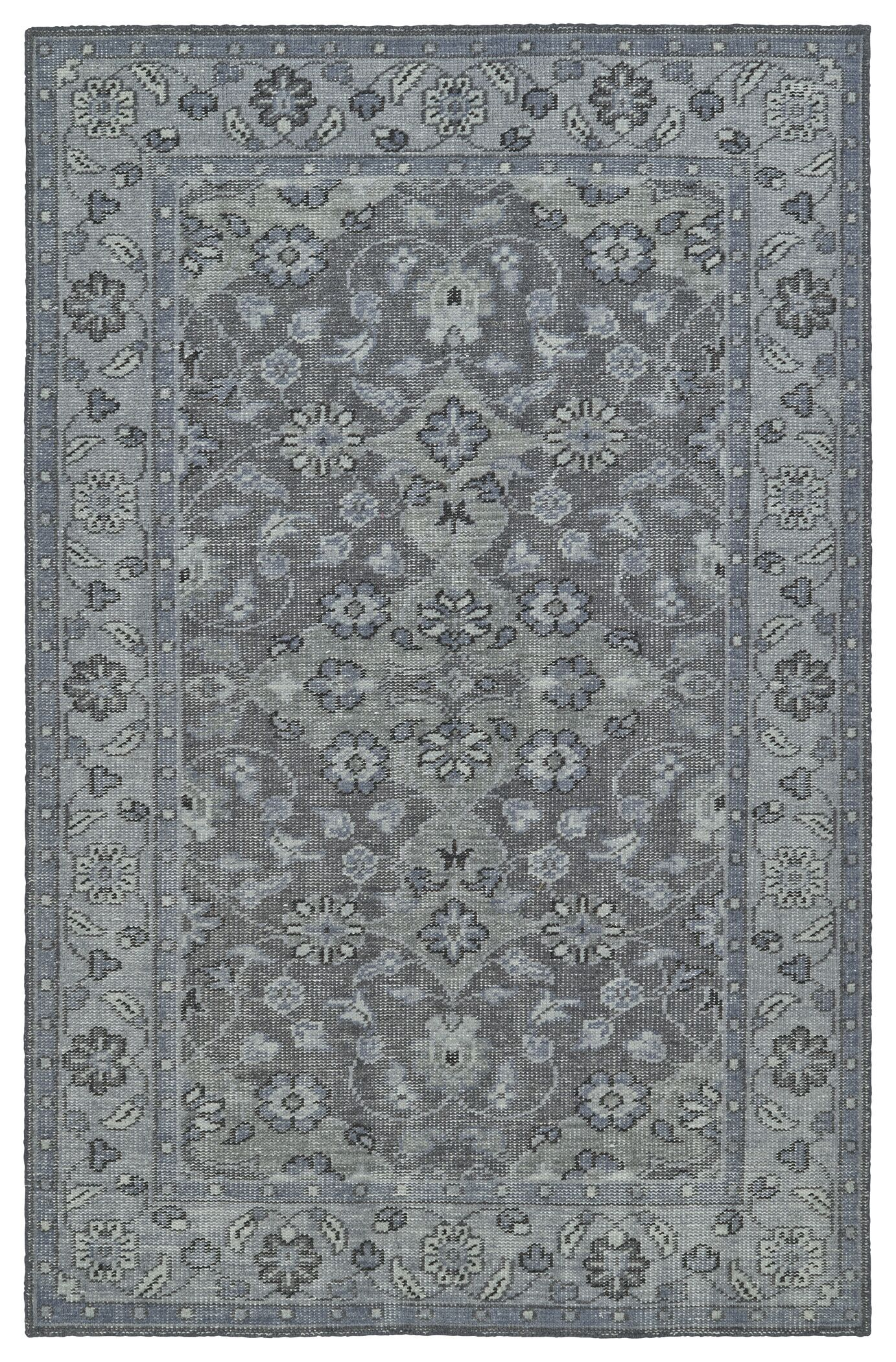 Eugenia Hand-Knotted Grey Area Rug Rug Size: Rectangle 2' x 3'
