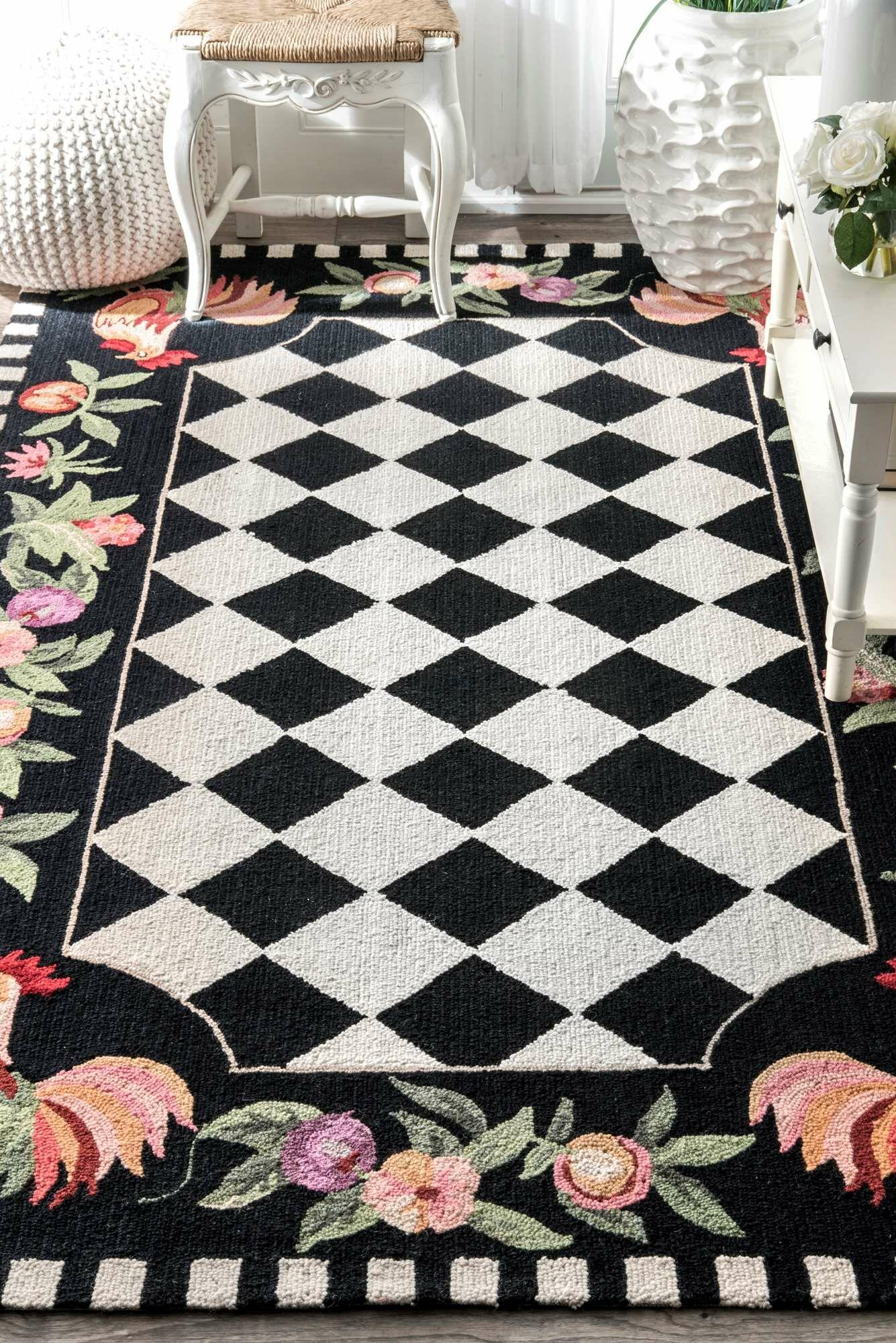 Bacourt Black Novelty Area Rug Rug Size: Rectangle 3'6