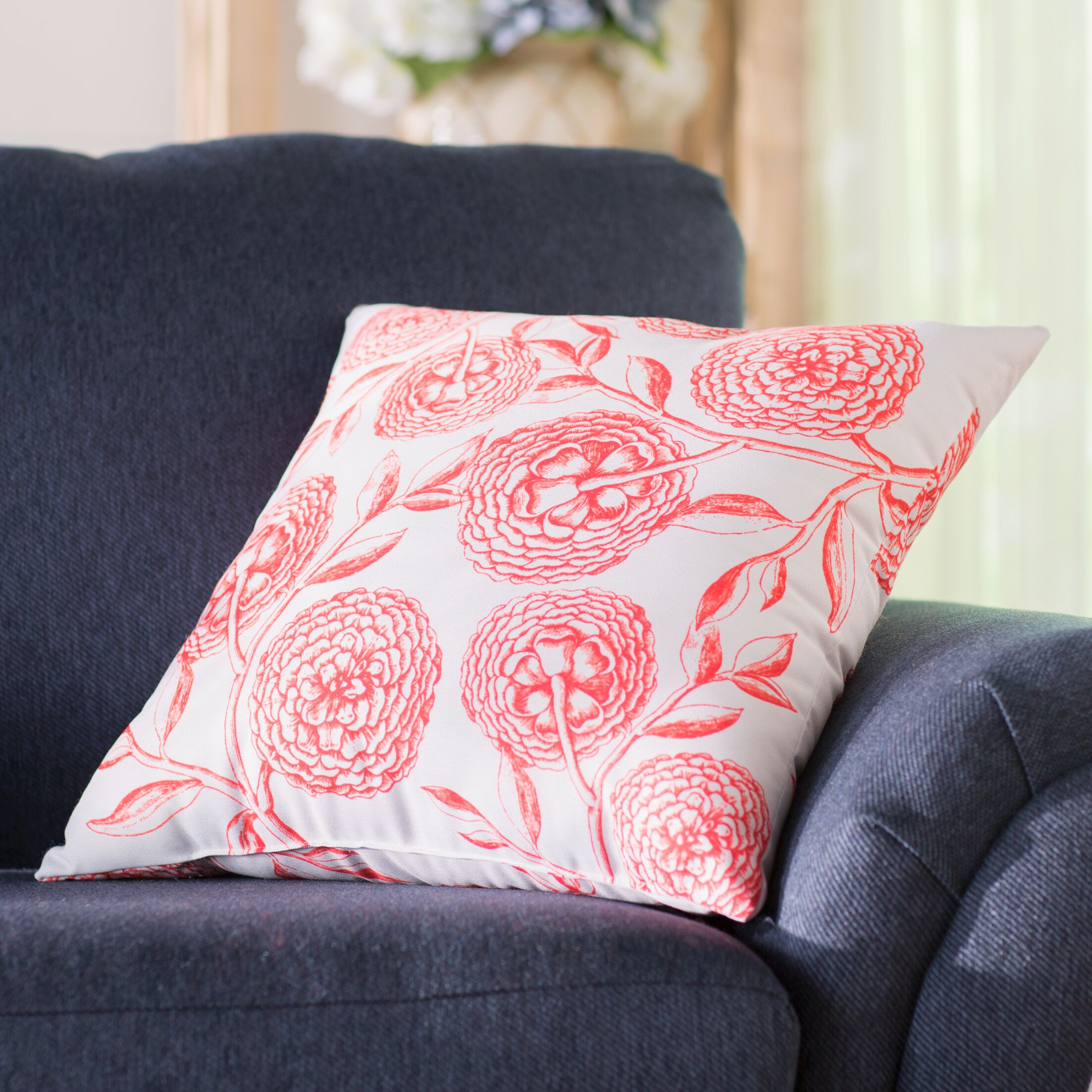 Jud Blooms Antique Flower Throw Pillow Size: 18